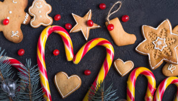 New Year And Christmas Background. Christmas Candy Cane Gingerbr