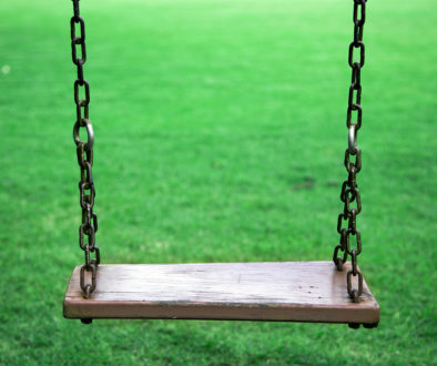 Empty Wood Seat On Swing Outdoor Game